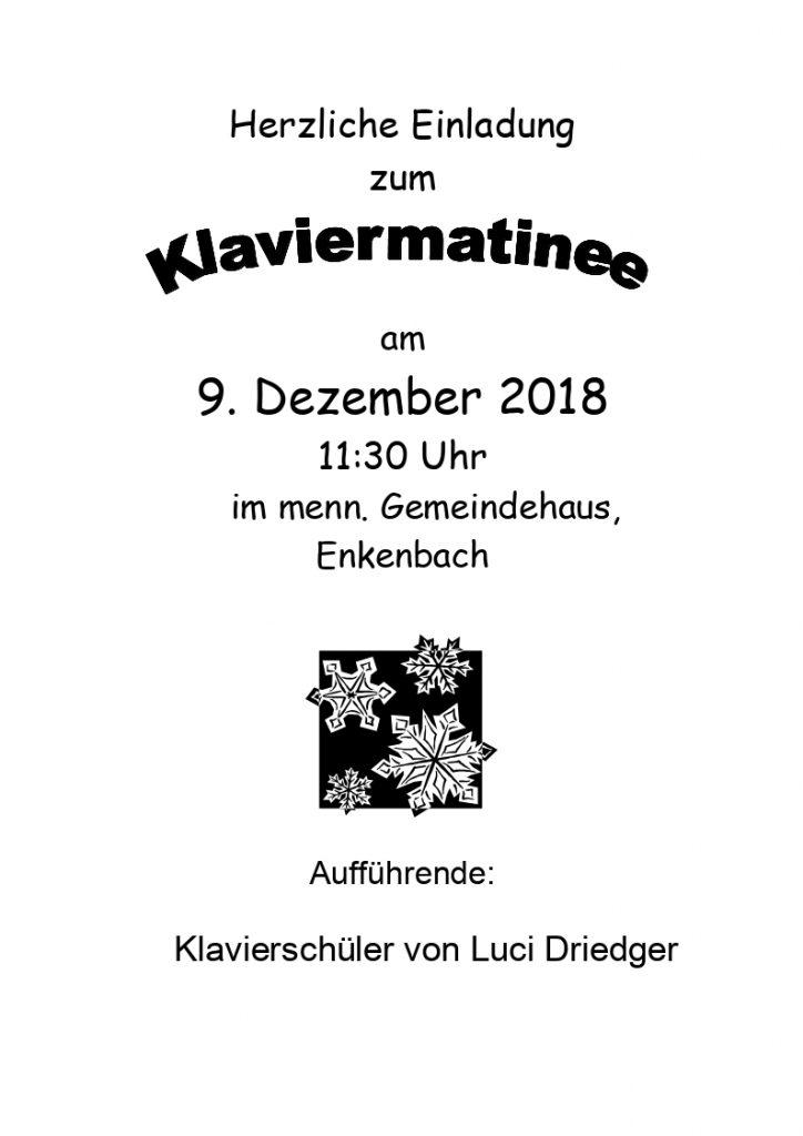 Plakat: Klaviermatinee am 09.12.2018 um 11:30 Uhr im Gemeindehaus